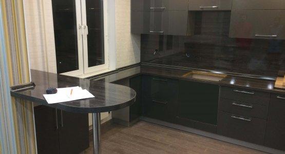 Фото работы Кухня ЛАК глянец серый металлик (2017г.)