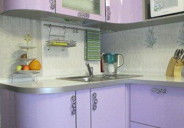 Фото статьи Кухня сиреневая со скруглением
