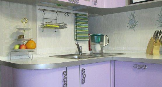 Фото работы Кухня сиреневая со скруглением