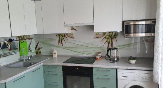 Фото работы Цветная кухня под потолок с фасадами АГТ