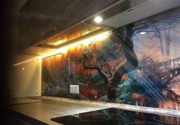 Кухня с фасадами HPL Пластик и дизайнерской стеновой панелью из закалённого стекла фото