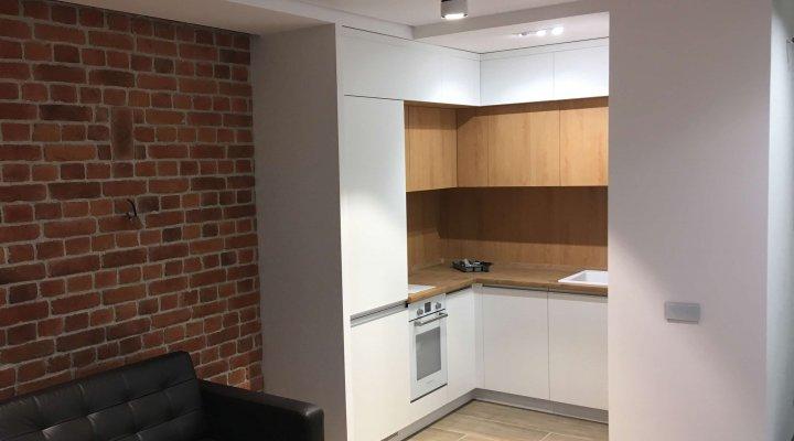 Небольшая кухня под потолок с белыми фасадами