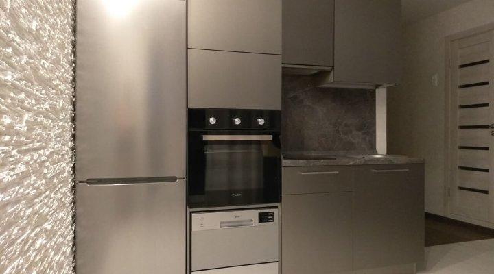 Маленькая прямая кухня с фасадами «AGT» (МДФ+ПВХ+ЛАК)