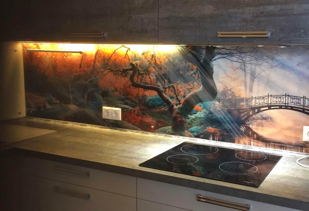Второе фото Кухня с дизайнерской стеновой панелью из закалённого стекла
